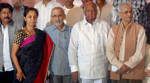 Union Agriculture Minister & NCP chief Sharad Pawar, Sharad Kale - Executive President - Yashwantrao Chavan Pratishthan, MP - Supriya Sule. (PTI photo)