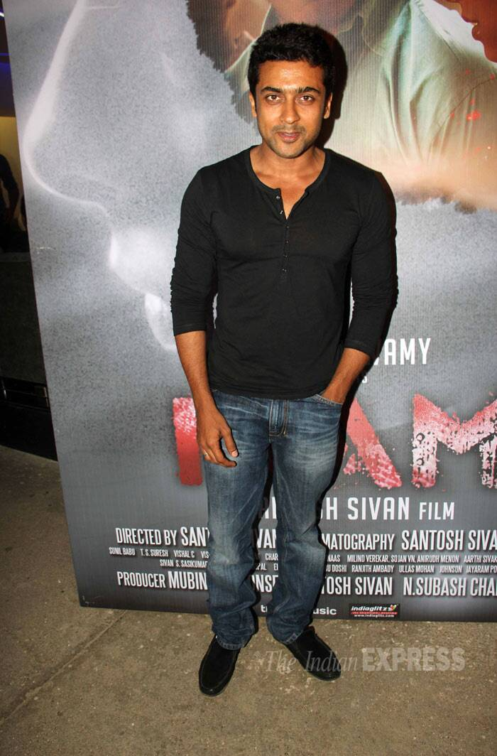 Tamil superstar and the original 'Singam' Suriya went casual in a black long sleeved tee shirt and denims. (Photo: Varinder Chawla)