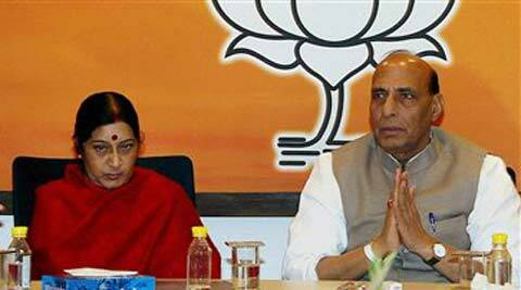 BJP President Rajnath Singh with party leaders Sushma Swaraj and Murli Manohar Joshi during party's Central Election Committee (CEC) meeting in New Delhi on Thursday. (PTI Photo)