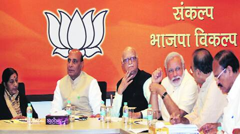 Senior BJP leaders at the party's central election committee meeting in New Delhi Saturday. Prem Nath Pandey