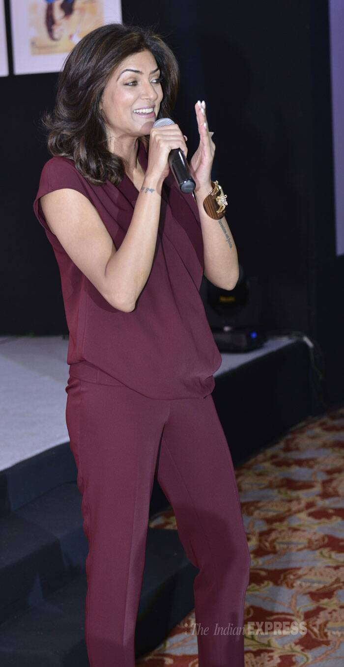 Pretty tall lady Sushmita Sen was smart in a maroon trouser and top. (IE Photo: Amit Chakravarty)