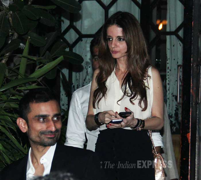 Sussanne Roshan, who has been in hiding for a while now since her store launch, was seen leaving a high-end restaurant with a mystery date. (Photo: Varinder Chawla)