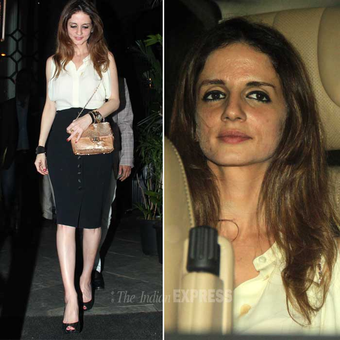 Hrithik Roshan's former wife was chic as ever in a white sleeveless blouse, black pencil skirt, chain sling bag and peep toes. (Photo: Varinder Chawla)