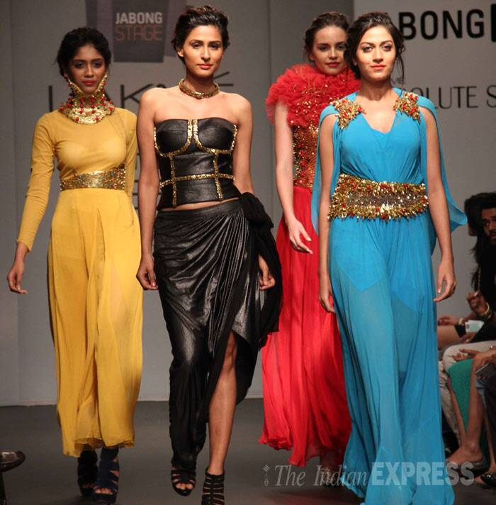 Designer Sajid Dhar's collection was exotic and kept up to its label – Swagger by Saj. (Photo: Varinder Chawla)