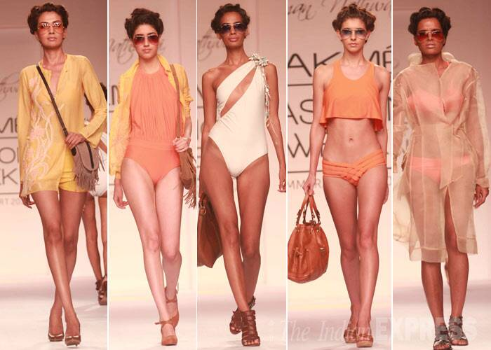 Designer Suman Nathwani's swimwear collection was fresh and summery, in pastel tones. (Photo: Varinder Chawla)