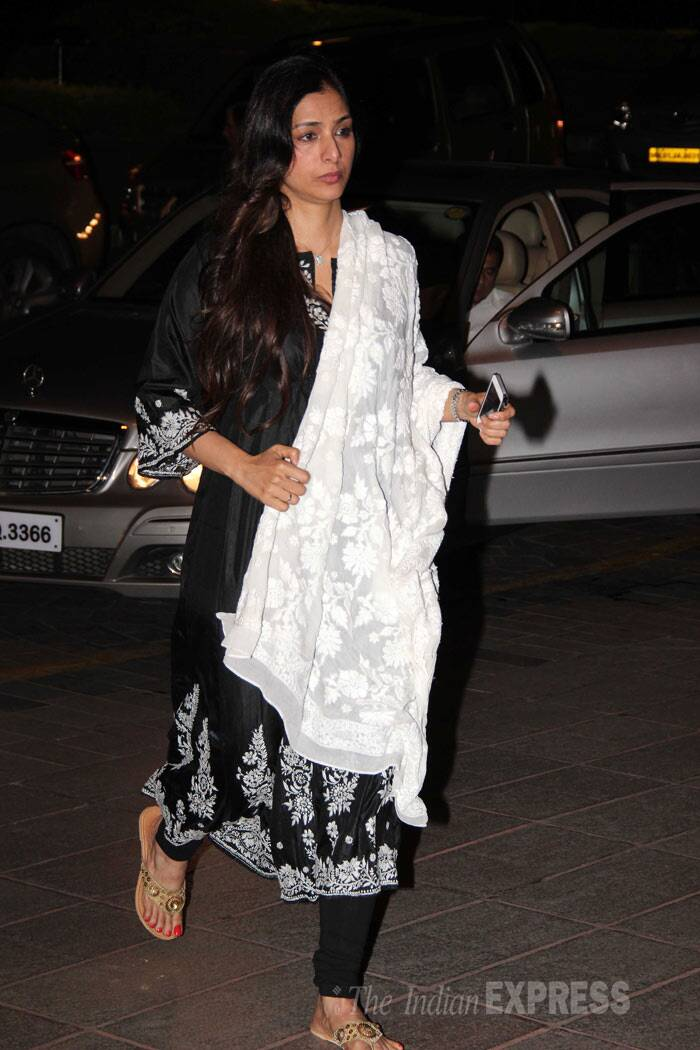 Actress Tabu wore a black churridar suit with a white dupatta for the prayer meet. (Photo: Varinder Chawla)