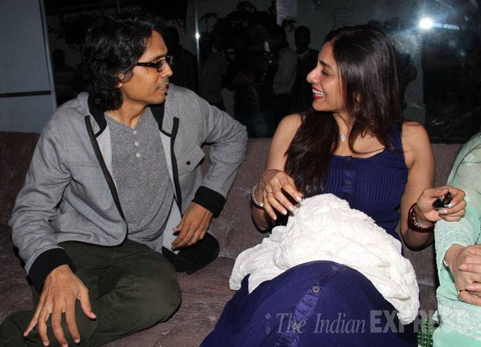 Tabu chats with 'Lakshmi' director Nagesh Kukunoor. (Photo: Varinder Chawla)