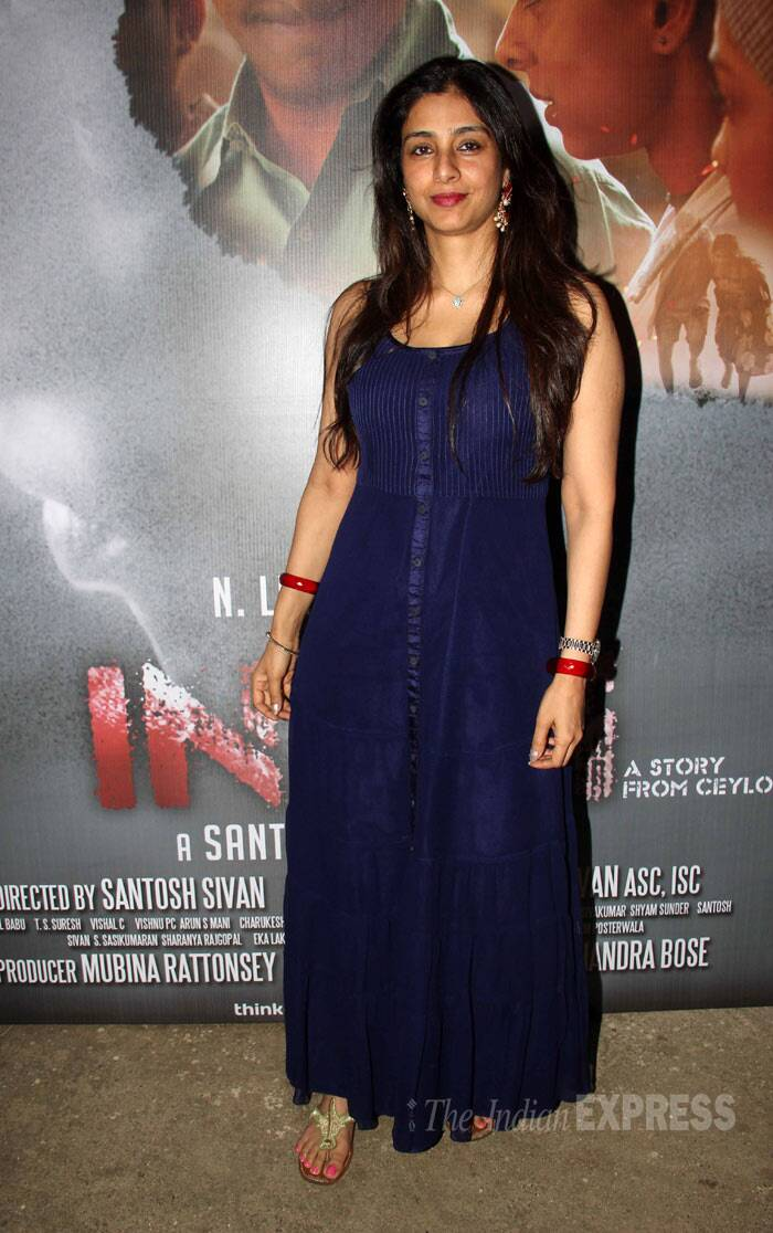 Tabu, who has worked with director Vishal Bhardwaj in 'Maqbool', was pretty in a dark blue maxi dress accessorized with red bangles and gold chappels. (Photo: Varinder Chawla)