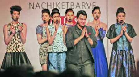 Nachiket Barve takes a bow with his models at WIFW Autumn-Winter 2014