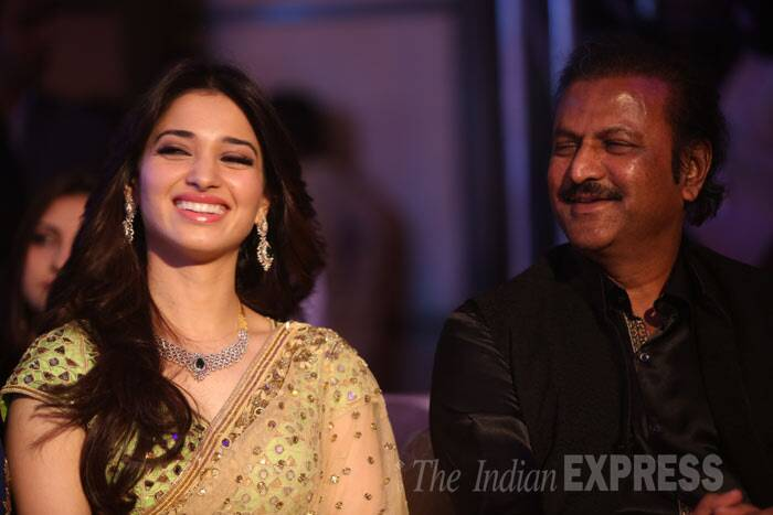 Tamannah shares a light moment with Mohan Babu. (Photo: Varinder Chawla)