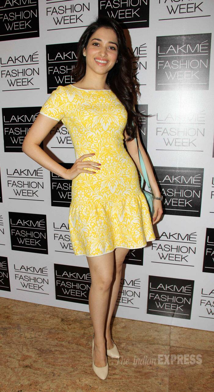 Tamannah, who will be seen in Sajid Khan's 'Humshakals', was cute in a summery yellow dress. (Photo: Varinder Chawla)