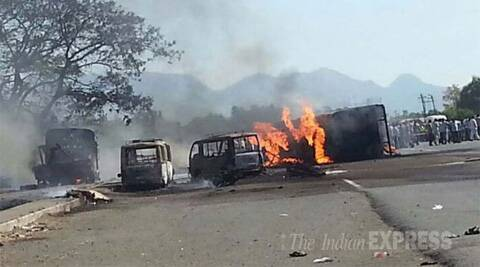 Three persons travelling in the vehicle and four others walking on the road were burnt alive in the incident. (IE Photo: Vasant Prabhu)