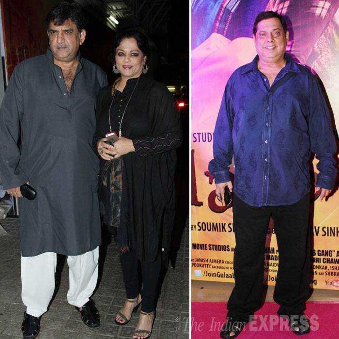 'Yeh Jawaani Hai Deewani' actress Tanvi Azmi snapped along with her husband Baba Azmi. 'Main Tera Hero' director David Dhawan also made it to the premiere. (Photo: Varinder Chawla)