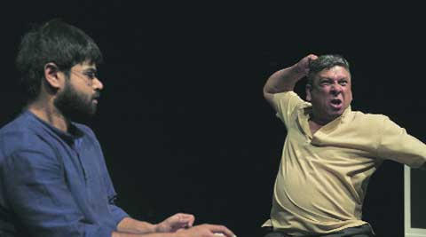 Actors depicting anger and below sublime peace,  two aspect  of the play