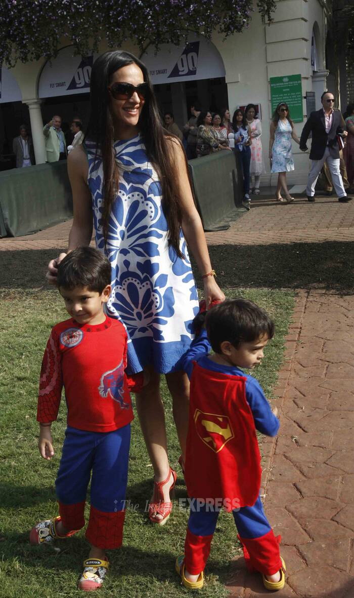 Former actress and talk show host Tara Sharma was recently spotted at a kids event in Mumbai with her sons Zen and Kai. (Photo: Varinder Chawla)