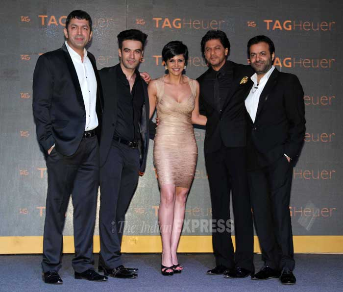 Directors Kunal Kohli, Punit Malhotra, Tarun Mansukhani pose for a group picture along with Mandira Bedi and Shah Rukh Khan. (Photo: Varinder Chawla)