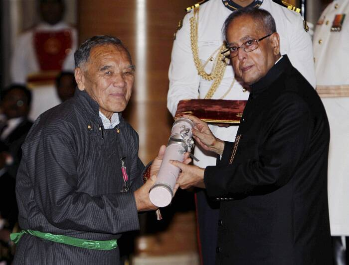 Pranab Mukherjee presents Padma Shri award to prominent community leader of the Ladakh, Tashi Tondup. (PTI)