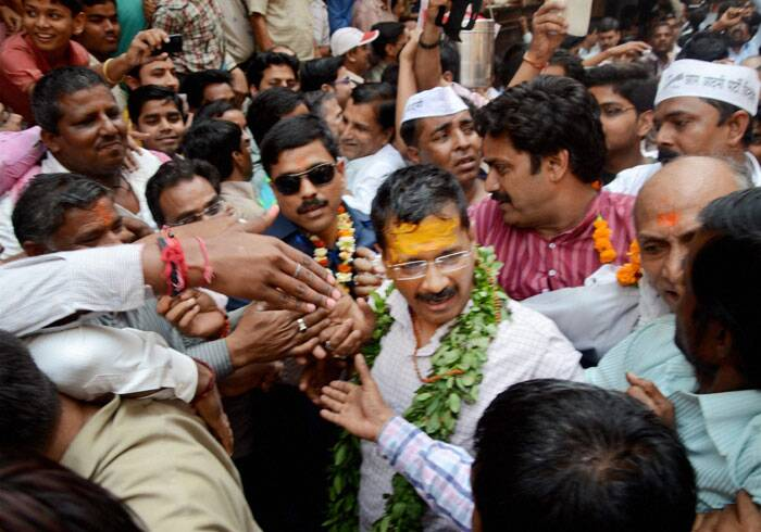 AAP convener Arvind Kejriwal after paying a visit to Kaal Bhairav temple in Varanasi on Tuesday. (PTI)