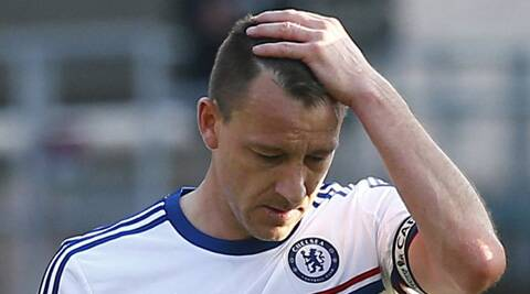 Chelsea's John Terry react after their English Premier League match against Crystal Palace on Saturday. (Reuters)