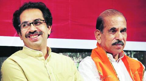 Manohar Joshi with Uddhav Thackeray.(express File)