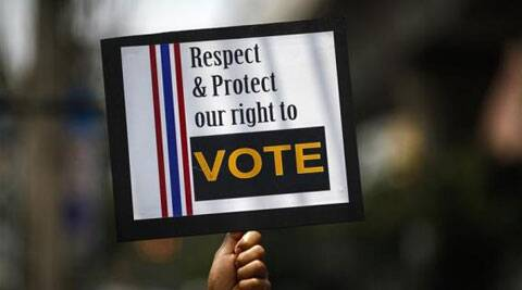 Government protesters had stopped voting in about a fifth of constituencies, and in 28 of them voting was not possible at all because candidates were unable to register. (Reuters)