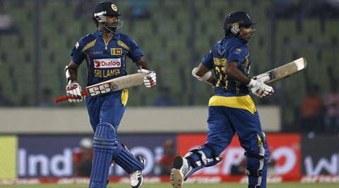 Lahiru Thirimanne and Mahela Jayawardene stitched a crucial partnership in the middle (AP)