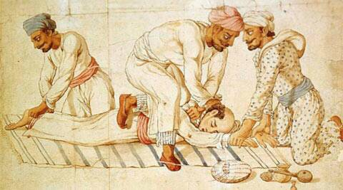 Age old Watercolour by an unknown artist from the early 19th century, showing three thugs strangling a traveller.