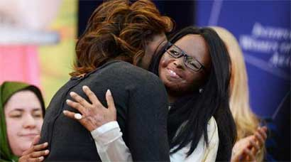 US First Lady Michelle Obama felicitates Indian acid attack victim Laxmi