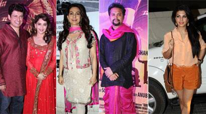 See Pics: Madhuri Dixit watches Gulaab Gang with mom and hubby