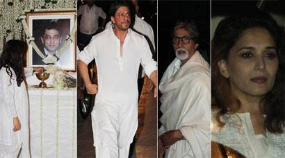 Shah Rukh Khan, Amitabh, Madhuri at prayer meet of Juhi Chawla's brother