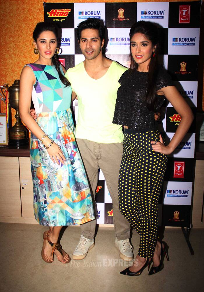 Actresses Ileana and Nargis were spotted with their 'Hero' Varun Dhawan promoting their upcoming film 'Main Tera Hero' in Mumbai on Saturday. (Photo: Varinder Chawla)