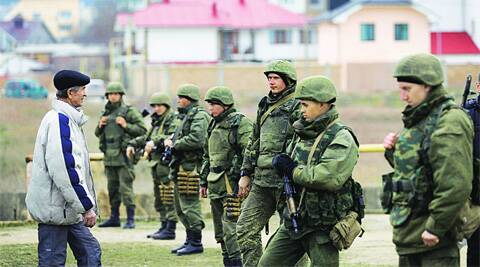 Troops in the Crimean port city of Feodosiya.  REUTERS