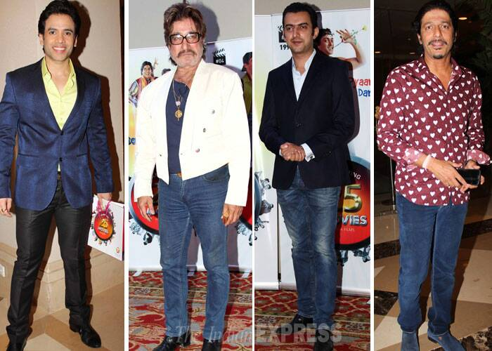 Boys Tusshar Kapoor, Shakti Kapoor, Sahil Sangha and Chunky Pandey at the party. (Photo: Varinder Chawla)