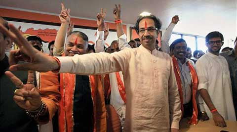 Shiv Sena president Uddhav Thackeray during a meeting after announcing party candidates for the upcoming Loksabha elections, in Mumbai on Tuesday. (PTI photo)