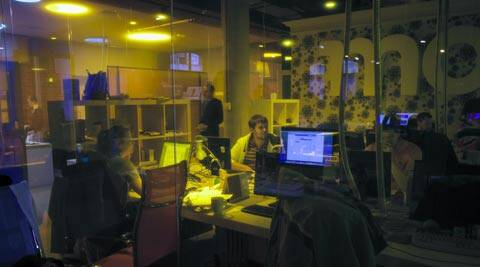 Journalists finish their last working day in independent news website Lenta.ru newsroom in Moscow. (AP)
