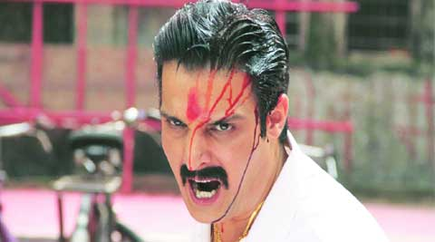 Jimmy Sheirgill who plays a gangster in the film in a violent mood