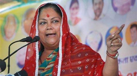 Rajasthan CM Vasundhara Raje addresses a public meeting in support of BJP candidate Sonaram. (PTI)