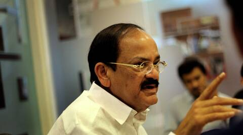 Union Minister for Urban Development and Parliamentary Affairs M Venkaiah Naidu at The Indian Express office in New Delhi on Friday. Ravi Kanojia (IE Photo: Ravi Kanojia)