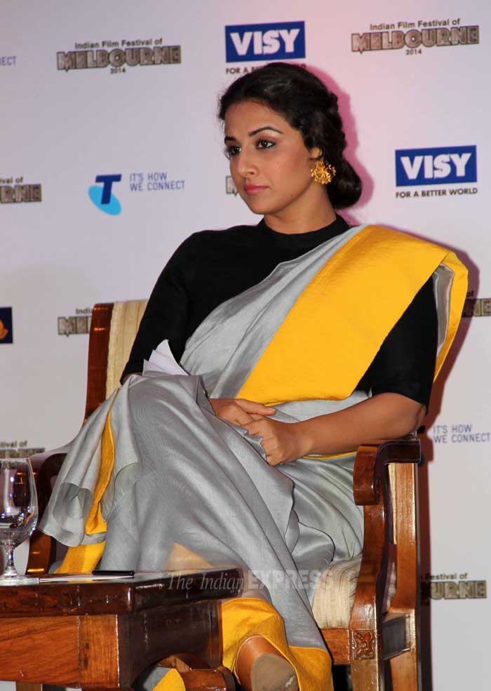 Malaika sizzles in black, Vidya beautiful in sari