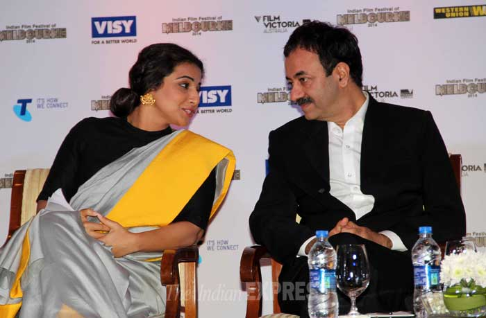 'The Dirty Picture' actress snapped chatting with filmmaker Raju Hirani. (Photo: Varinder Chawla)