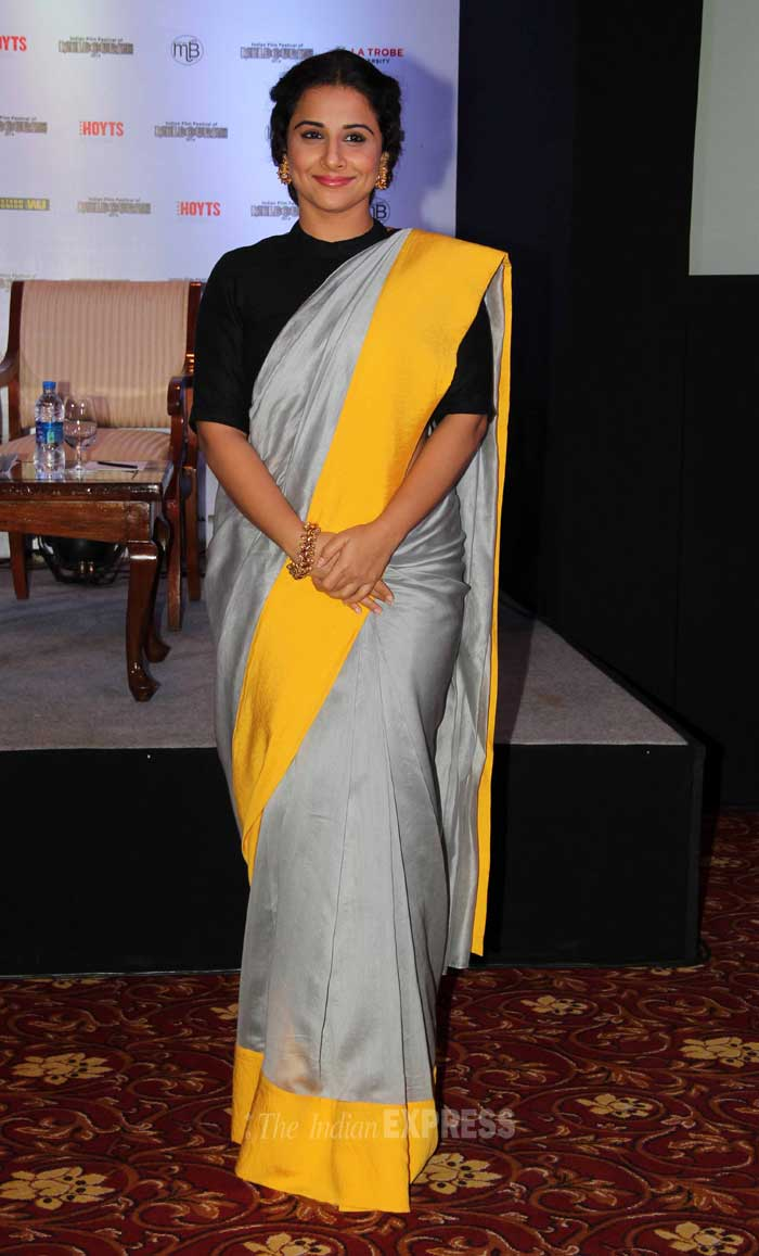 Vidya Balan who was last seen in her recently onscreen appearance – 'Shaadi Ke Side Effects' was elegant in a yellow and grey Payal Singhal sari paired with a conservative black blouse. (Photo: Varinder Chawla)
