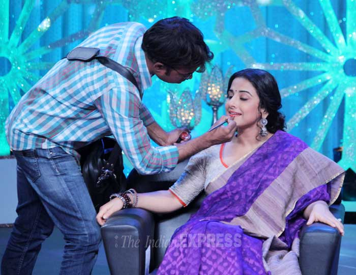 Vidya gets some last minute touch ups  to her makeup. (Photo: Varinder Chawla)