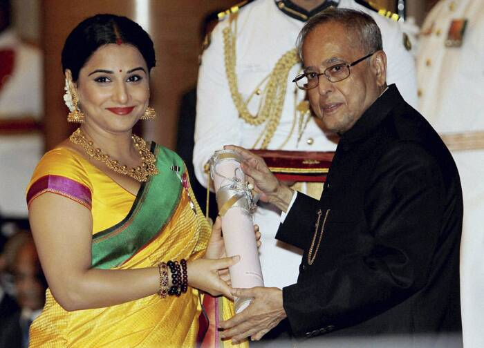 "Bollywood actress Vidya Balan received Padma Shri award from the President of India, Pranab Mukherjee in a ceremony at the Rashtrapati Bhawan today (March 31).<br />The actress was thrilled to receive the honour, ""I'm thrilled. I'm overjoyed. I'm overwhelmed. I'm honoured. I'm humbled…! I'm running out of words to express my feelings and gratitude,"" she said dedicating her award to her family. (PTI)"