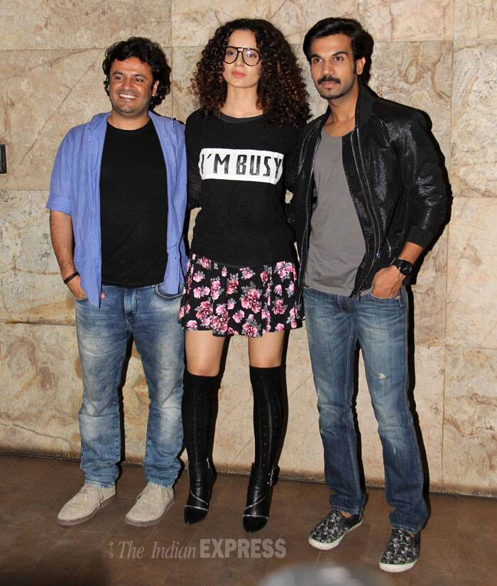 Kangana poses along with the film's director Vikas Bahl and her co-star Rajkumar Rao. (Photo: Varinder Chawla)