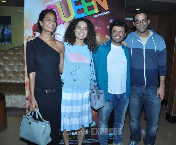 'Lootera' director Vikramaditya Motwane joins the 'Queen' team for a picture. (Photo: Varinder Chawla)