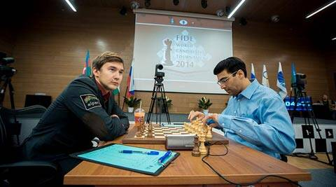 Viswanathan Anand's game against Karjakin held interest only in the latter stages (FIDE.com)