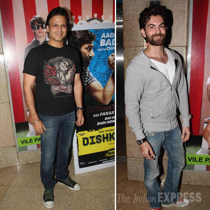 Vivek Oberoi aka Kaal was seen in a Popeye T shirt with jeans and sneakers. While Neil Nitin Mukesh was also casual in jeans, T shirt and jacket. (Photo: Varinder Chawla)