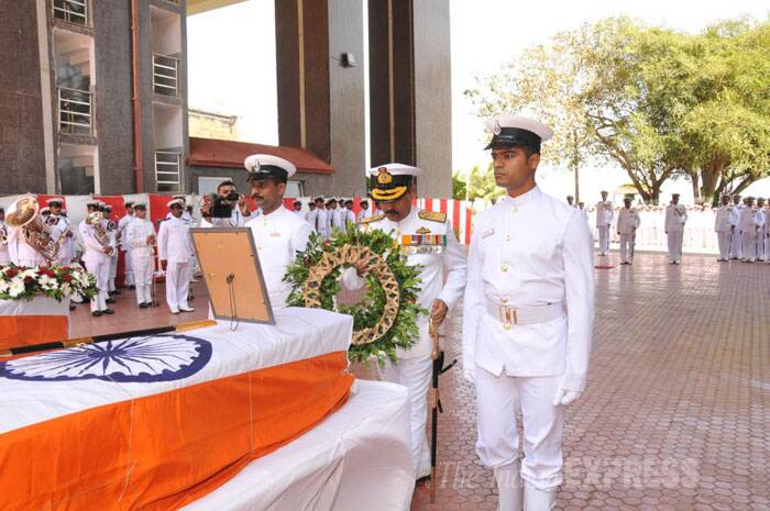 The body of Munwal, who was the first to spot the fire in the third compartment of the submarine, was taken to Chandanwadi crematorium in central Mumbai after the conventional wreath-laying ceremony. (IE Photo)