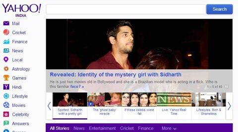 The new Yahoo India homepage