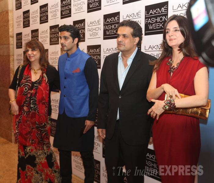 The actor was later spotted posing for a group picture along with his mother Zarine Khan. (IE Photo: Dilip Kagda)